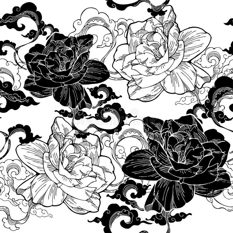 jasmim de cabo oriental e e nuvem do aroma para o teste padrão sem emenda com tom clássico preto e branco ilustração stock