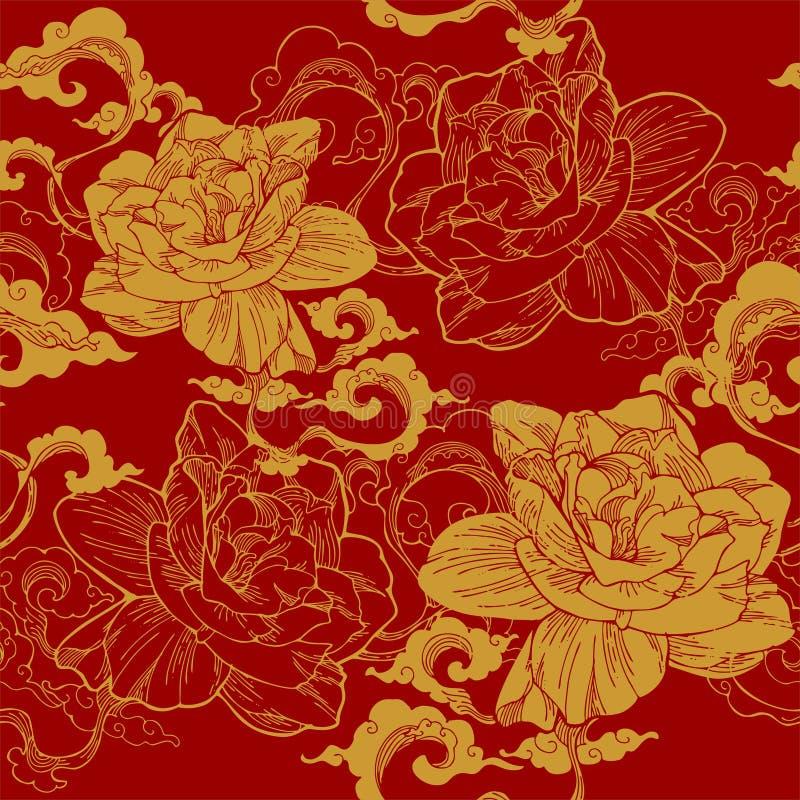 jasmim de cabo oriental e e nuvem do aroma para o teste padrão sem emenda com tom dourado amarelo ilustração royalty free