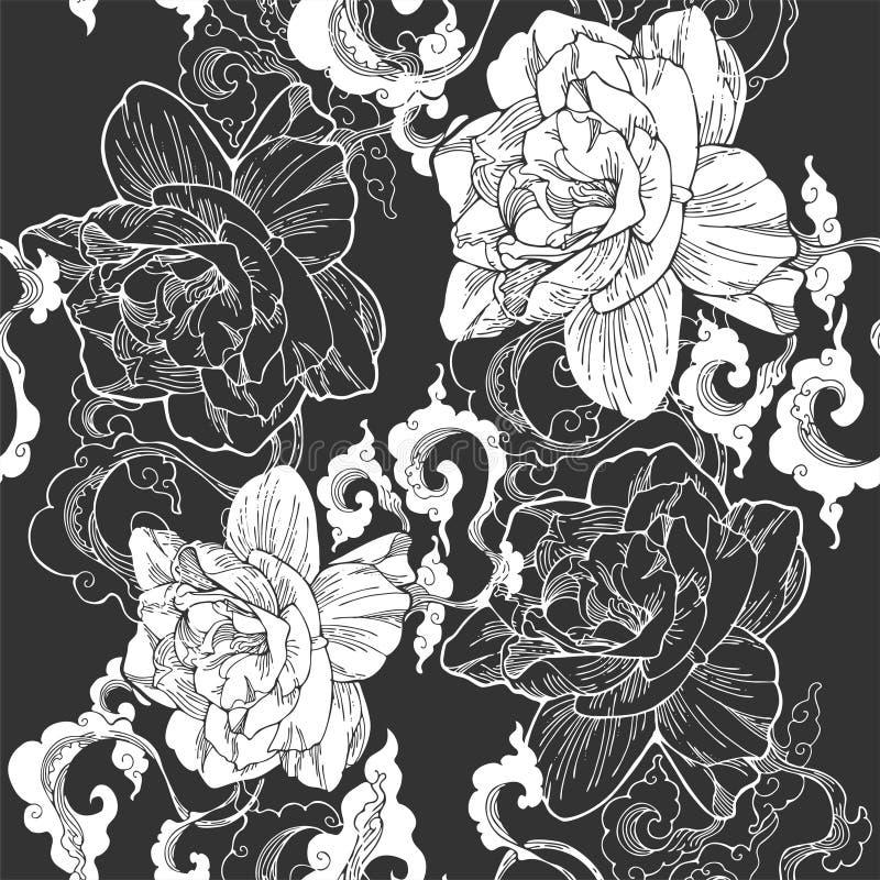 jasmim de cabo oriental e e nuvem do aroma para o teste padrão sem emenda com tom preto cinzento ilustração stock