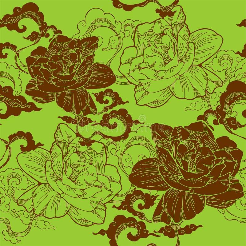 jasmim de cabo oriental e e nuvem do aroma para o teste padrão sem emenda com tom verde do marrom ou da terra ilustração royalty free