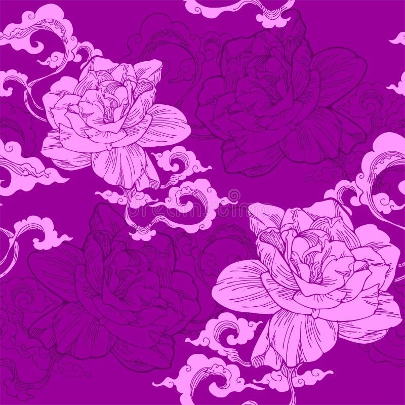 jasmim de cabo oriental nuvem e e do aroma ou teste padrão sem emenda com tom violeta ilustração do vetor