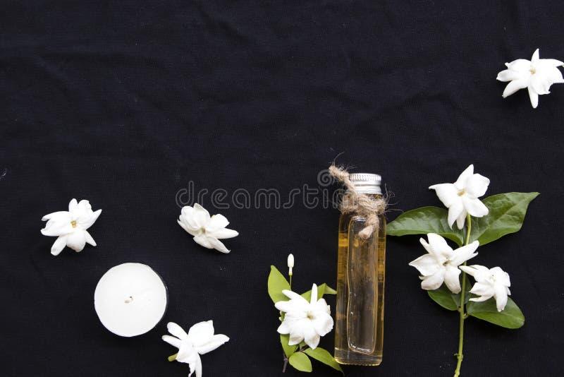 Jasmin de fines herbes naturel de fleur d'extrait d'huiles photo stock