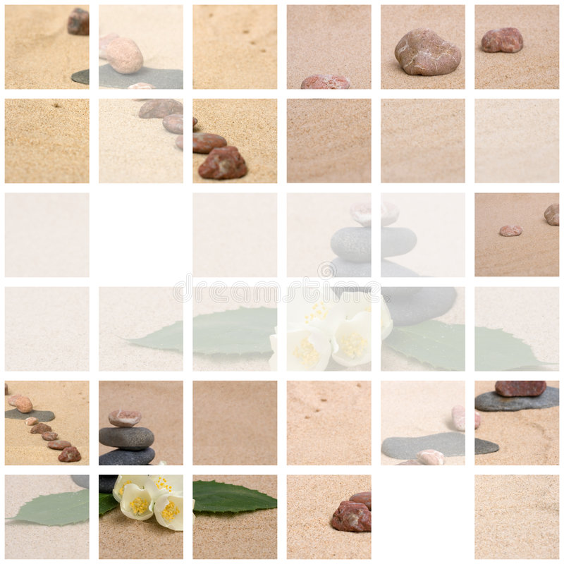 Free Jasmine And Zen Stones On A Sand Stock Photos - 7665343
