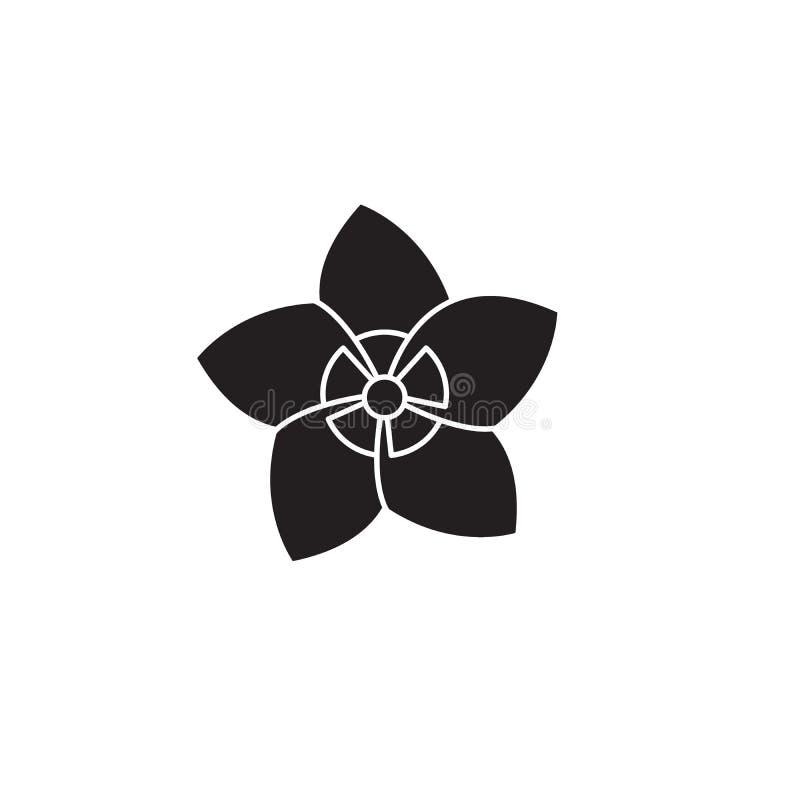 Jasmine black vector concept icon. Jasmine flat illustration, sign. Symbol royalty free illustration