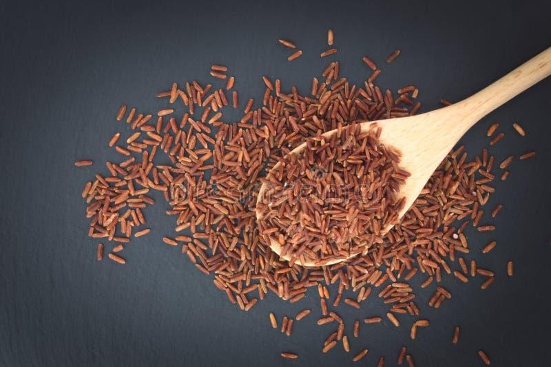 Jasmine Brown Rice tailandés crudo en la cuchara de madera imagenes de archivo