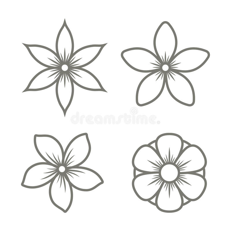 Jasmine Flower Icons Set på vit bakgrund vektor stock illustrationer