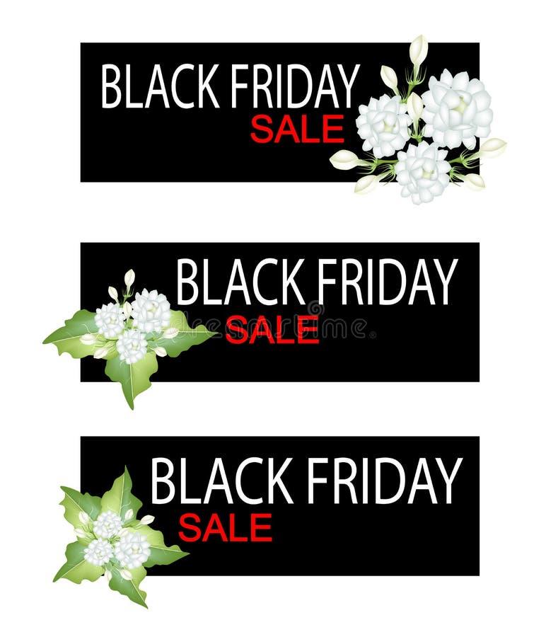 Jasmine Flowers en bandera de la venta de Black Friday stock de ilustración