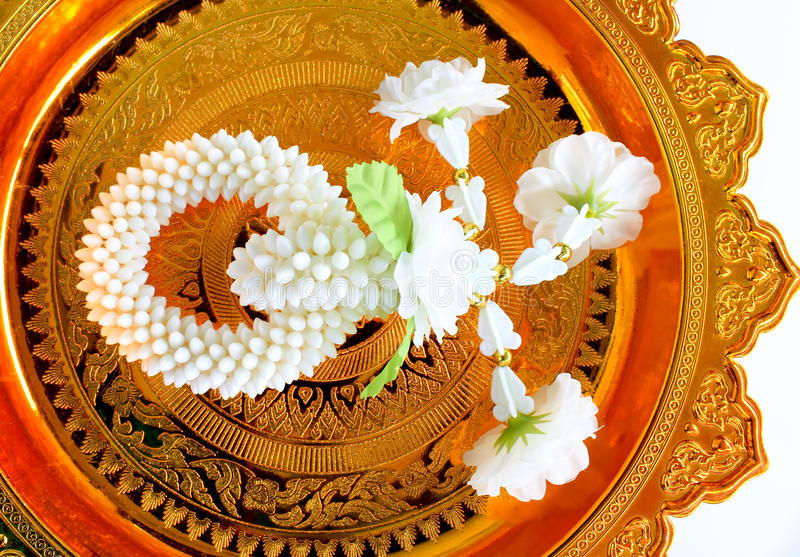 Download Jasmine Garland On Gold Tray Stock Image - Image: 20679885