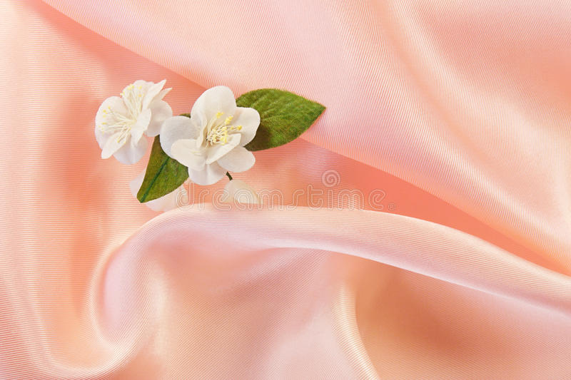 Download Jasmine on pink fabric stock photo. Image of moire, textile - 28271024