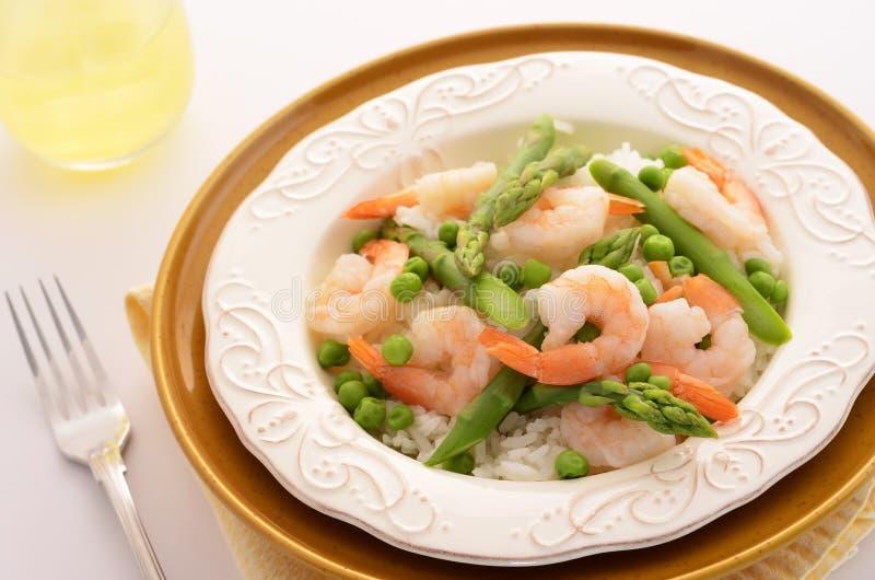 Jasmine Rice With Prawns, Peas And Asparagus Royalty Free Stock Photo