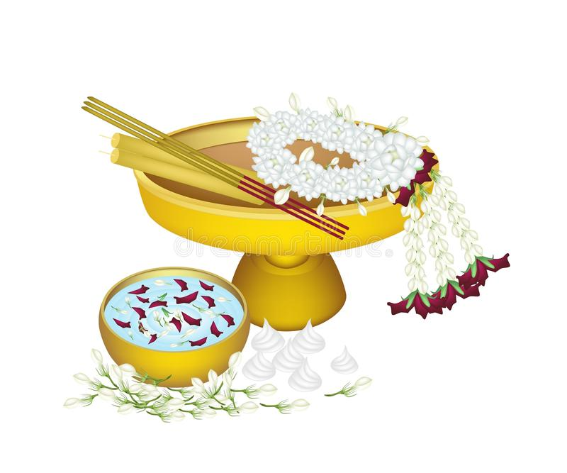 Jasmine Wreath with Water Bowl for Songkran Festival royalty free illustration