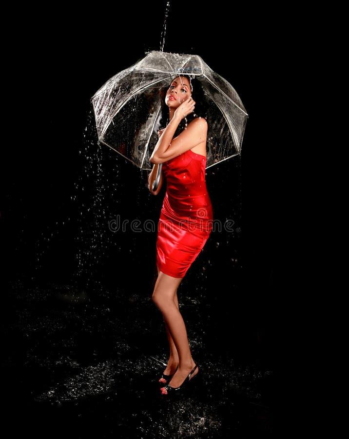 jasna wspaniała podeszczowa parasolowa kobieta zdjęcia royalty free