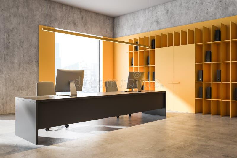Jasnożółte podłogowe wnętrze biura ilustracji