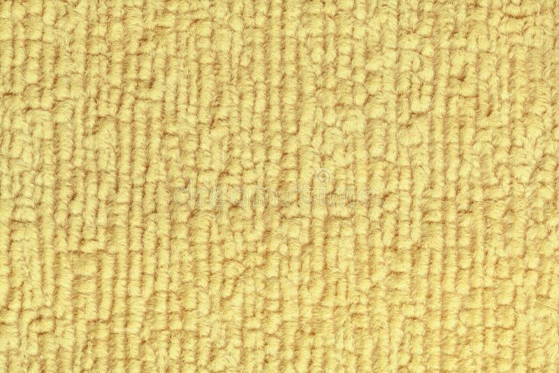 Jasnożółty puszysty tło miękka część, wełnisty płótno Tekstura tekstylny zbliżenie zdjęcia royalty free