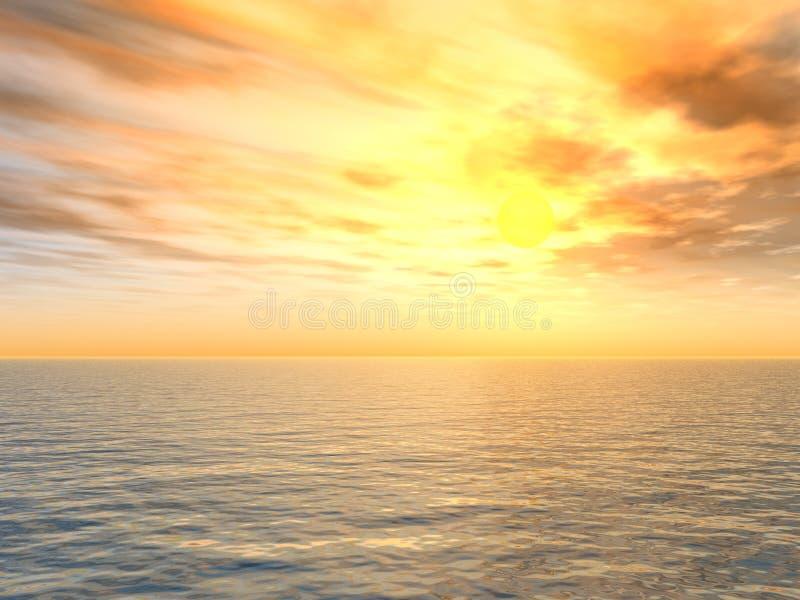 jasno nad słońca nad morzem royalty ilustracja