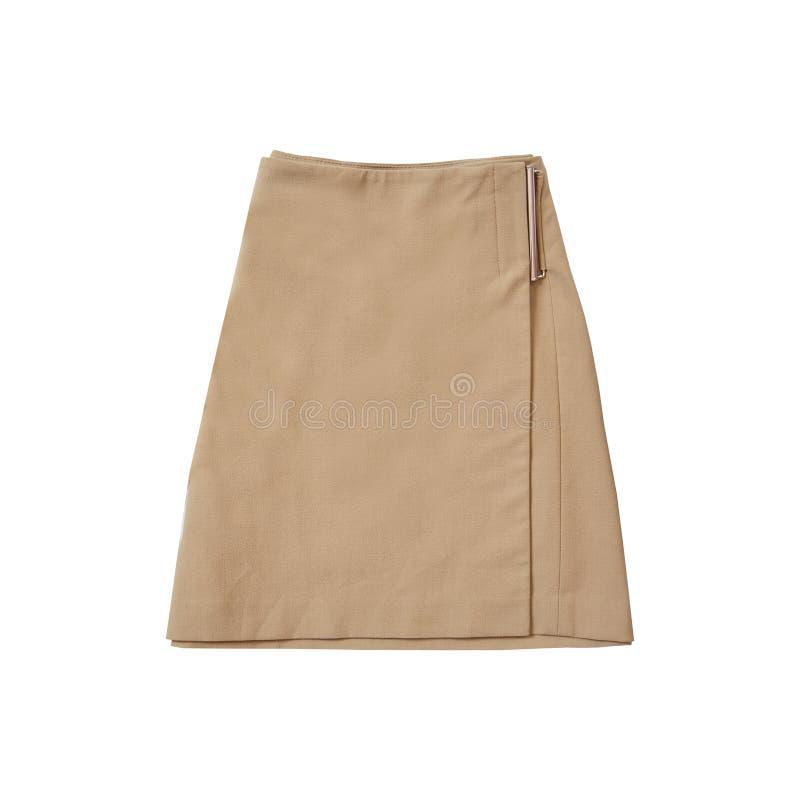 Jasnobrązowa zamszowy spódnica modny pojęcie odosobniony Biały b obraz royalty free