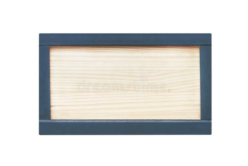 Jasnobrązowy drewno podpisuje wewnątrz czarnego kwadrata stalowej ramy naturalnych wzory odizolowywających na białym tle z ścinek zdjęcie royalty free