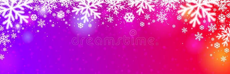 Jasnoczerwony, purpurowy baner świąteczny z białymi nieostrymi płatkami śniegu Wesołych Świąt i wesołych Świąt Nowego Roku W pozi fotografia royalty free
