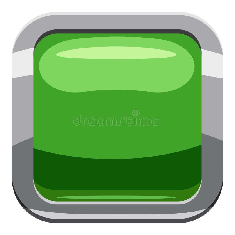 Jasnozielona kwadratowa guzik ikona, kreskówka styl ilustracji