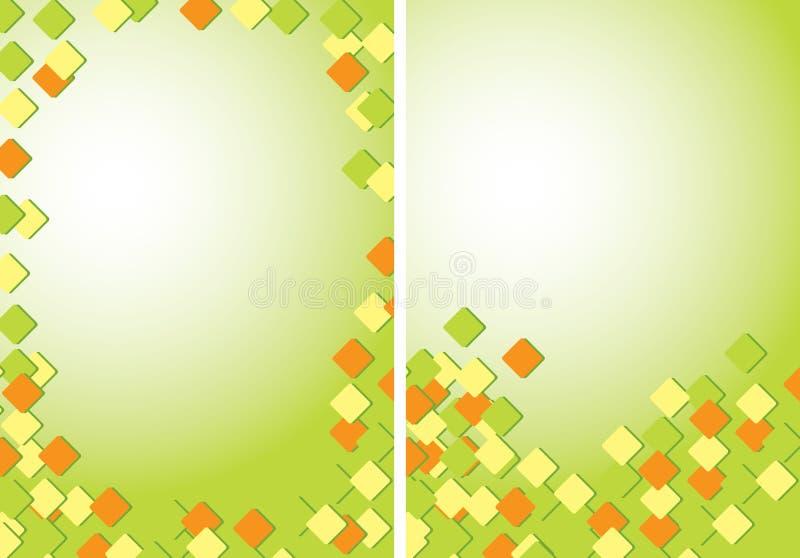 Jasnozieloni abstrakcjonistyczni tła A4 z barwionymi quadrates - wektor royalty ilustracja