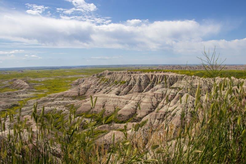Jasnozieloni Pustynni wzgórza Pod Big Blue niebami obrazy stock