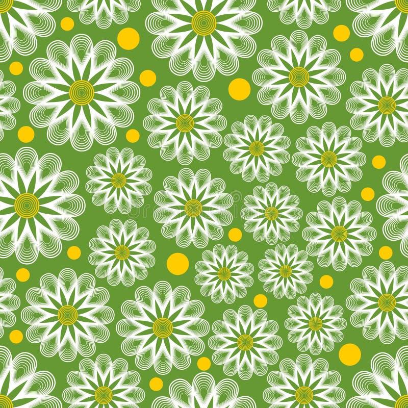 Jasnozielony bezszwowy wektorowy tło z konturów białymi marguerites, kolor żółty kropkami i Rozochocony tło dla wiosna projekta C royalty ilustracja