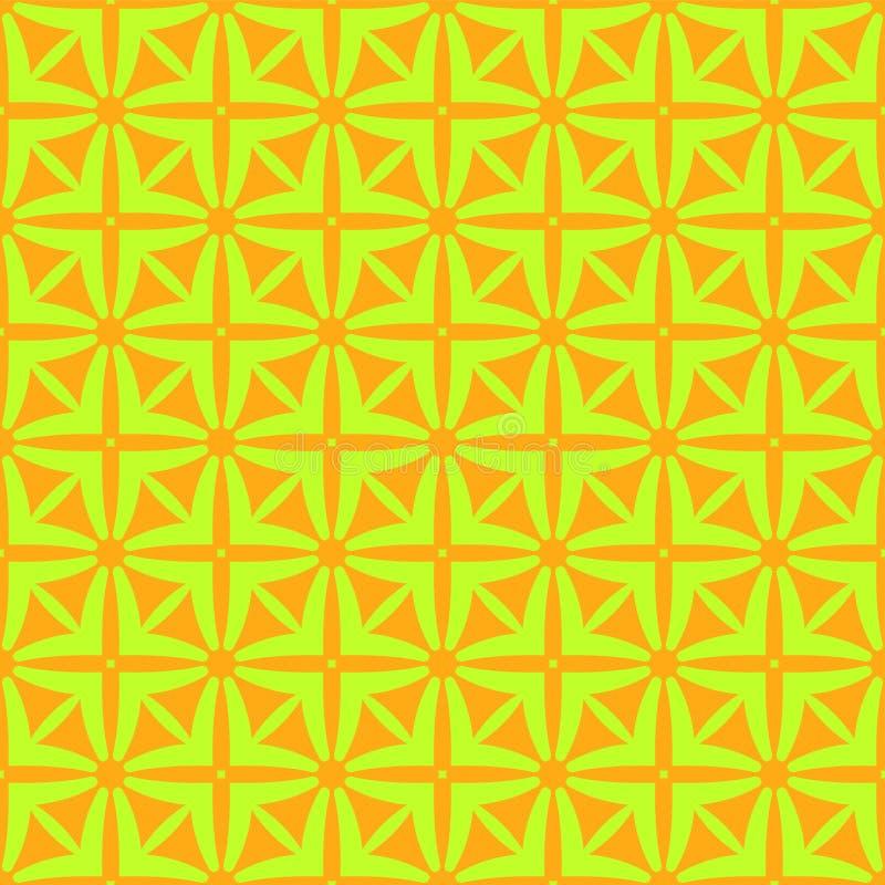 Jasnozielony gwiazda wz?r na pomara?czowym tle bezszwowy wzoru Abstrakcjonistyczny wektor ilustracja wektor