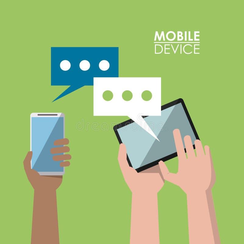 Jasnozielony plakatowy urządzenie przenośne z komunikacją między smartphone i pastylką ilustracja wektor