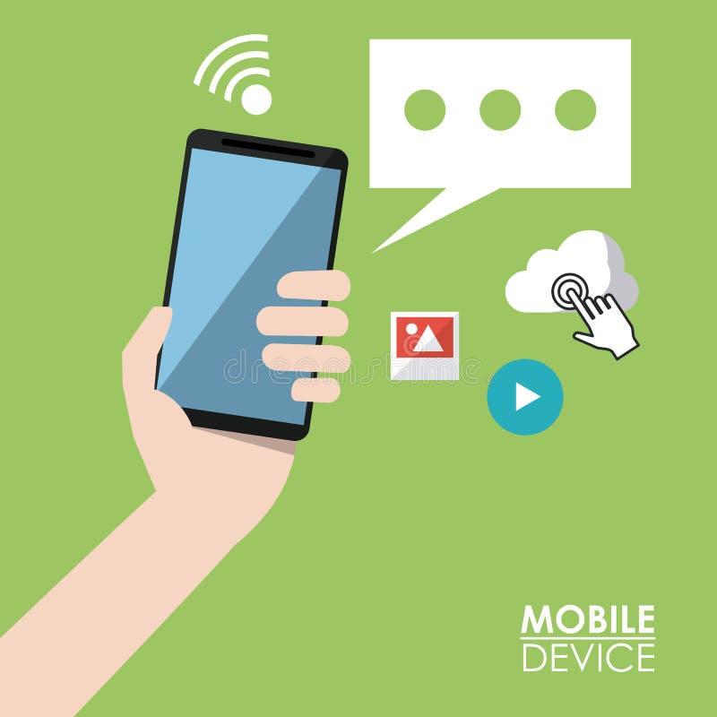 Jasnozielony plakatowy urządzenie przenośne z ręki mienia błonia i smartphone ikonami w tle ilustracja wektor