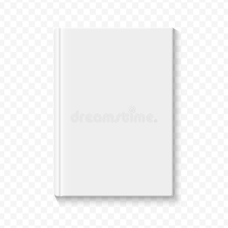 Jasny biały pusty książkowy okładkowy szablon na alfa transperant tle z gładkimi miękkimi cieniami również zwrócić corel ilustrac ilustracja wektor