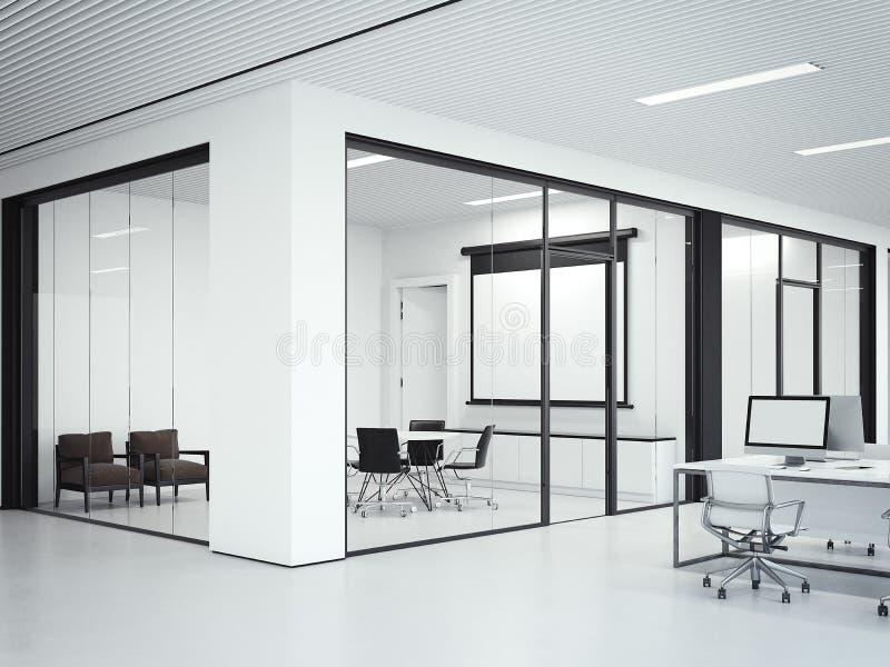 Jasny biurowy wnętrze z pokojem konferencyjnym świadczenia 3 d obraz stock