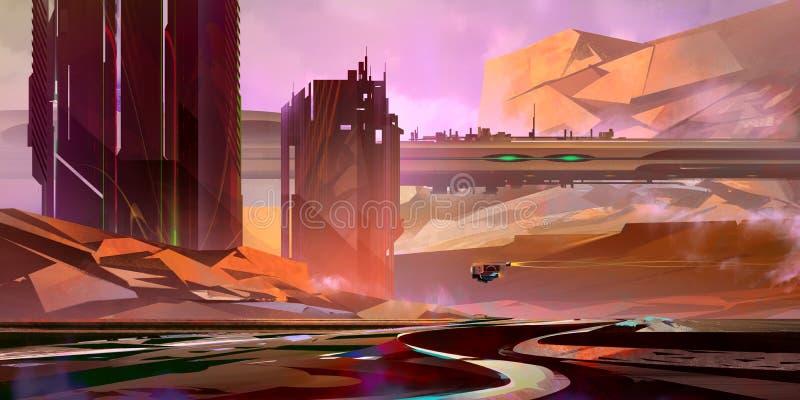 Jasny, fantastyczny krajobraz przyszłości w stylu cyberpunkowym zdjęcie royalty free