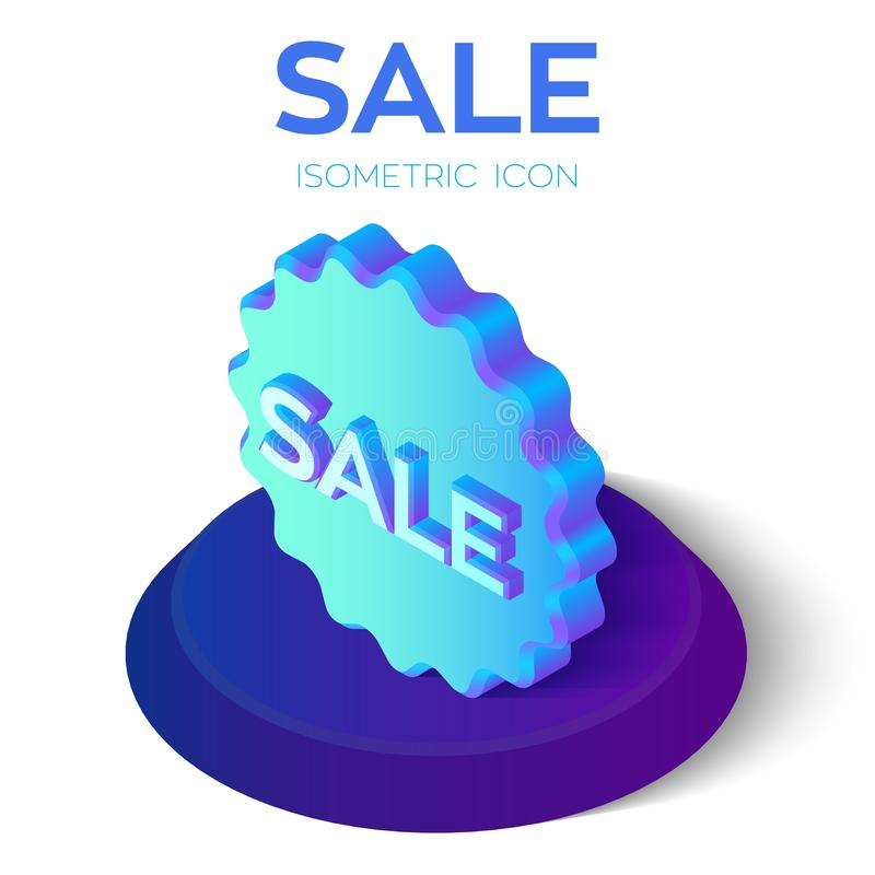jasny ilustracyjny czerwony tasiemkowy sprzedaży etykietki wektor Oferty specjalnej sprzedaży etykietki 3D isometric ikona Dyskon royalty ilustracja