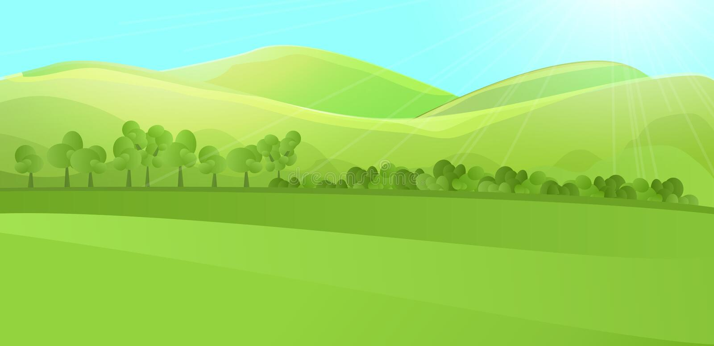 Jasny krajobraz z zielonym wzgórzem, góry, trawa, drzewo las i ogród, lub ilustracji
