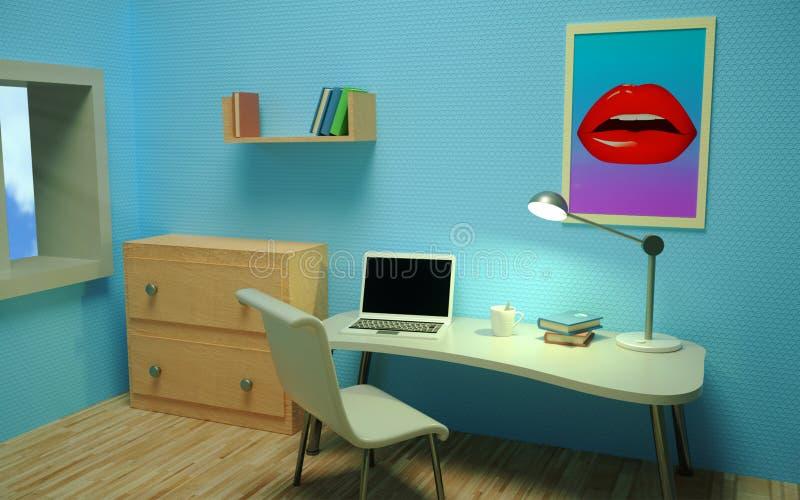 jasny pokój Izbowy wnętrze workplace Perspektywiczny widok 3 d czynią royalty ilustracja