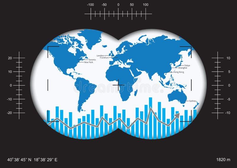 Jasny wzrok globalny pieniężny występ ilustracji