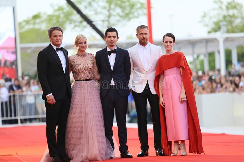 Jason Clark, Damien Chazelle, Ryan Gosling, Claire Foy immagini stock
