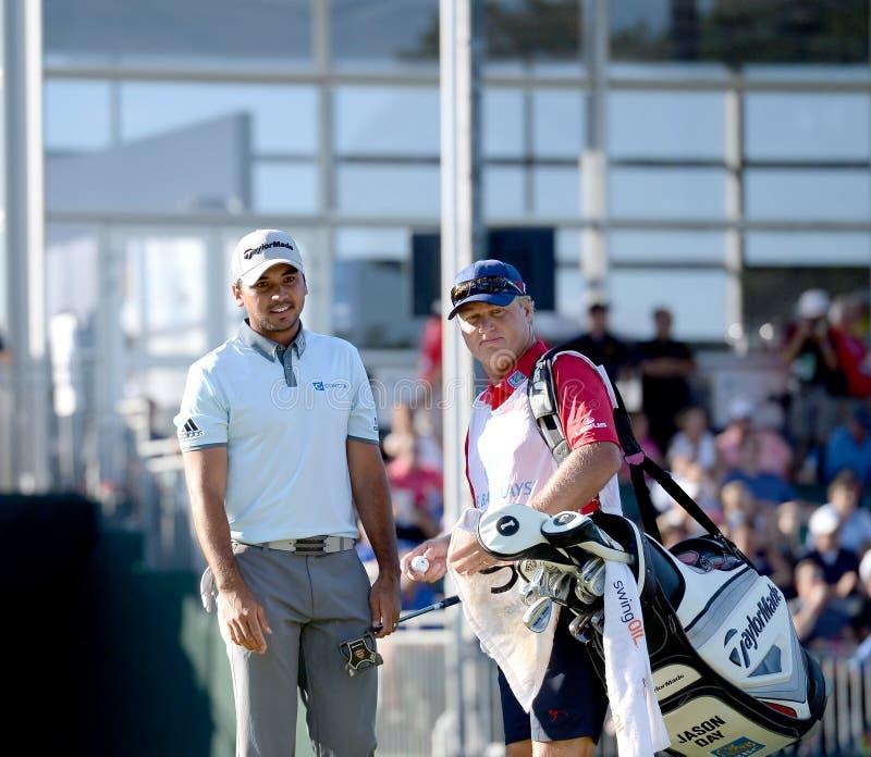 Jason dzień przy drugi round Barclays turniej trzymający przy Plainfield Country Club w Edison, Nowym - bydło fotografia stock