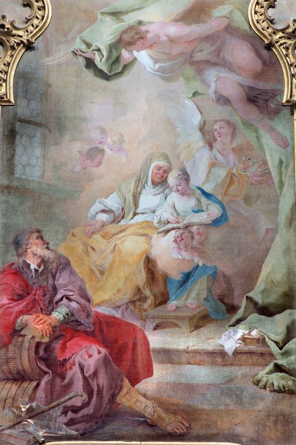 Jasov - autel et panit latéraux baroques d'Ann et Vierge Marie saints par Johann Lucas Kracker (1752 - 1776) de cloi de Premonstra photo libre de droits