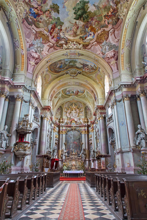 Jasov - Main nave of baroque church (1745 - 1766) in Premonstratesian cloister in Jasov by glorious architect from Vienna Franz An. Ton Pilgram on January 2 royalty free stock images