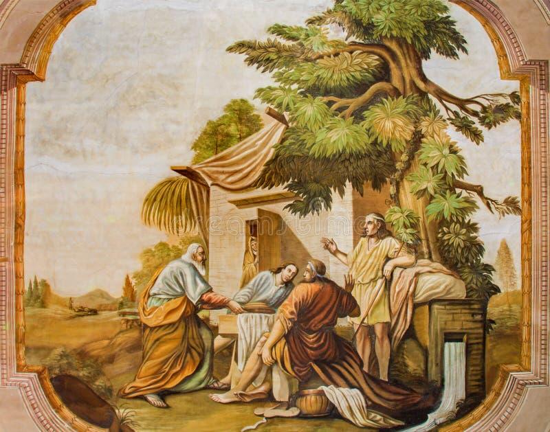 Jasov - Zaal met de fresko van scène - Drie engelen die Abraham door Johann Lucas Kracker (1752 - 1776) bezoeken van Premonstrates royalty-vrije stock foto's
