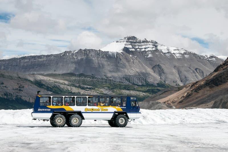 JASPE, ALBERTA/CANADA - 9 DE AGOSTO: Coche de la nieve en el Athabasca fotografía de archivo
