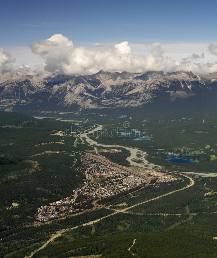 Jasper - Alberta - Canada. Town of Jasper in Jasper National Park in the Rocky Mountains of Alberta in western Canada. Viewed from the Jasper Gondola stock image