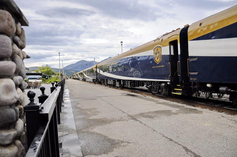 The Rocky Mountaineer Train at the Jasper Station. Jasper, Alberta, Canada - July 7, 2019: The Rocky Mountaineer Train at the Jasper Station in Jasper National stock photography