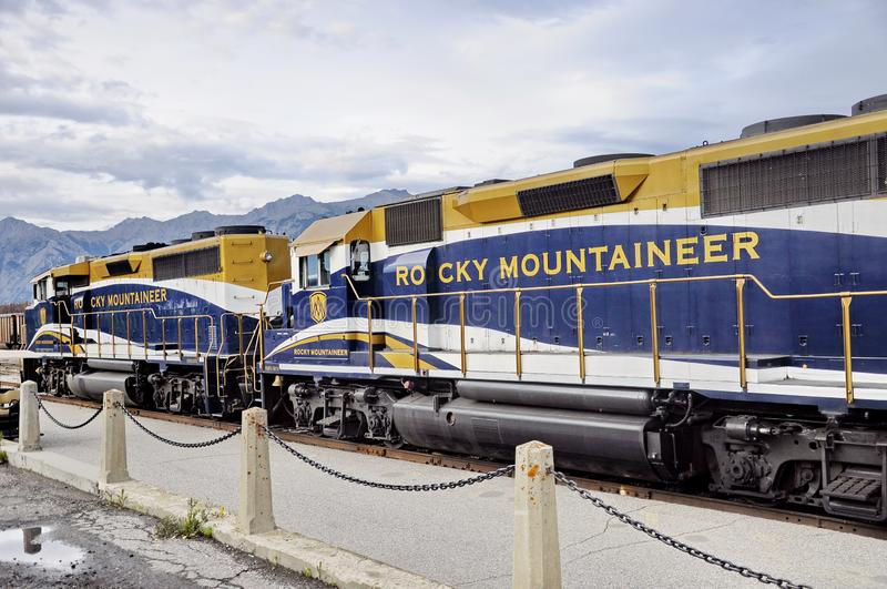 The Rocky Mountaineer Train at the Jasper Station. Jasper, Alberta, Canada - July 7, 2019: The Rocky Mountaineer Train at the Jasper Station in Jasper National stock photos
