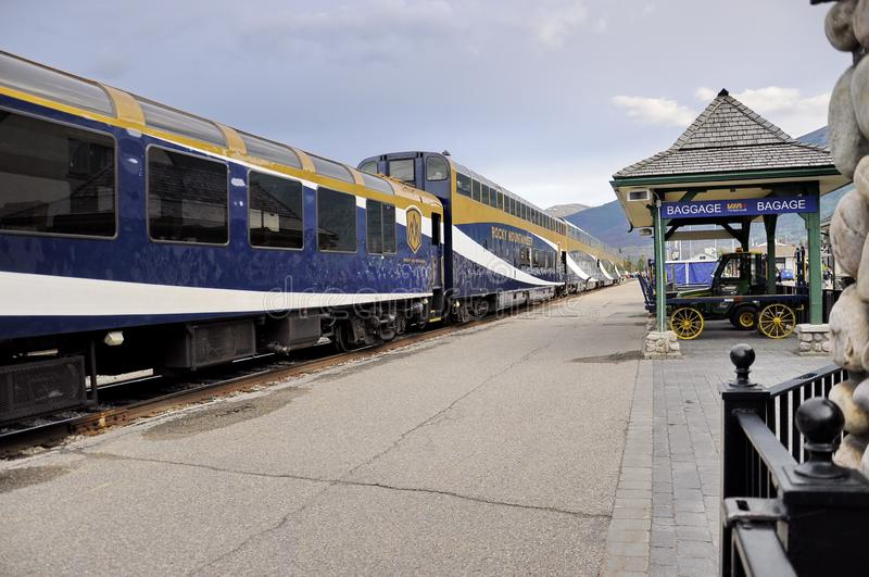 The Rocky Mountaineer Train at the Jasper Station. Jasper, Alberta, Canada - July 7, 2019: The Rocky Mountaineer Train at the Jasper Station in Jasper National royalty free stock photography