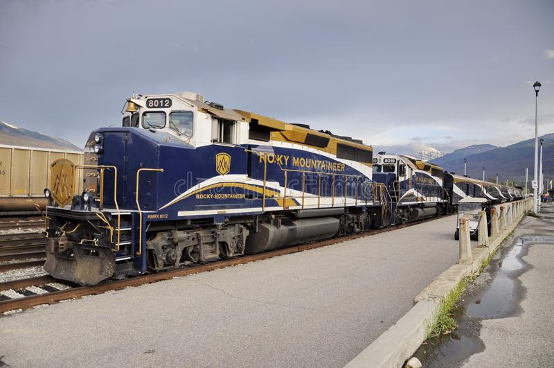 The Rocky Mountaineer Train at the Jasper Station. Jasper, Alberta, Canada - July 7, 2019: The Rocky Mountaineer Train at the Jasper Station in Jasper National royalty free stock photo