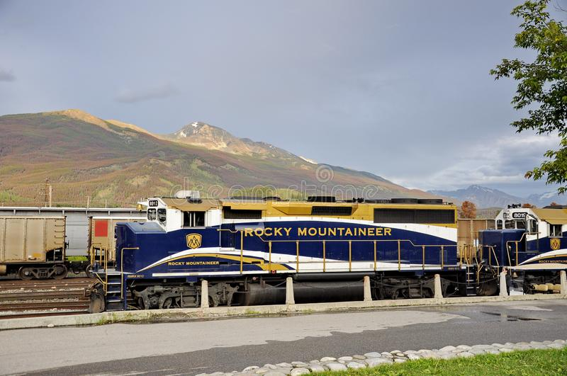 The Rocky Mountaineer Train at the Jasper Station. Jasper, Alberta, Canada - July 7, 2019: The Rocky Mountaineer Train at the Jasper Station in Jasper National stock photo