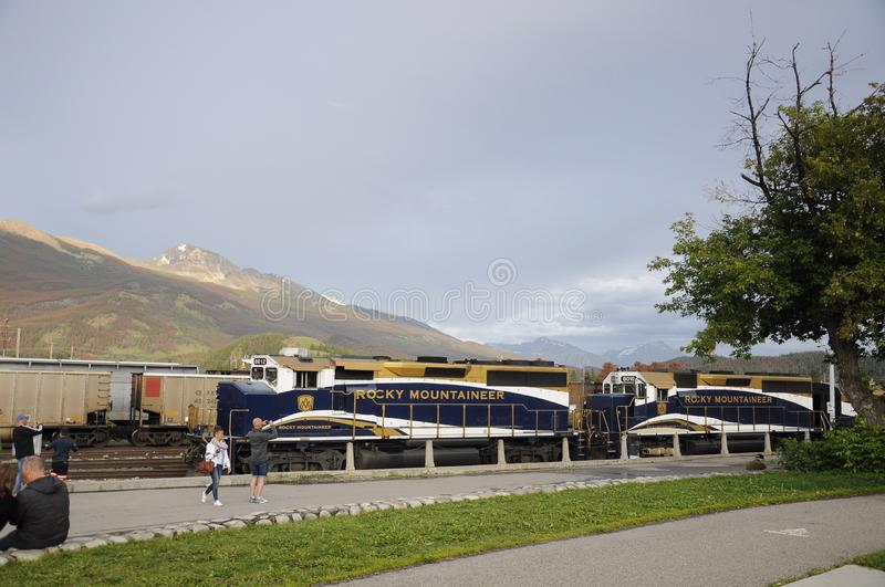 The Rocky Mountaineer Train at the Jasper Station. Jasper, Alberta, Canada - July 7, 2019: The Rocky Mountaineer Train at the Jasper Station in Jasper National royalty free stock image