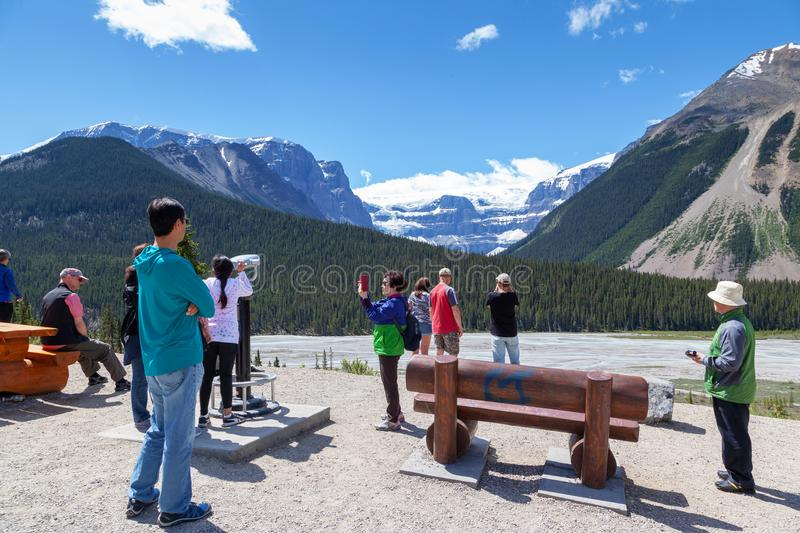 Stutfield Glacier on the Icefields Parkway in the Canadian Rockies royalty free stock image
